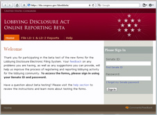 Link to Lobbying Disclosure Online Reporting